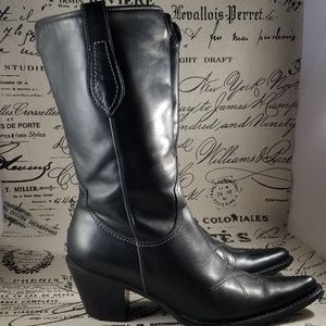 Franco Sarto Black Embroidered Cowboy Boots